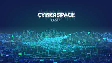 Ilustración de Cyberspace game city. Internet of Things. Futuristic technology vector background - Imagen libre de derechos