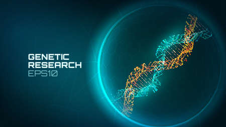 Ilustración de Dna helix vector background. Genetic reseacrch process. Modified gene. Science biology dna technology background - Imagen libre de derechos