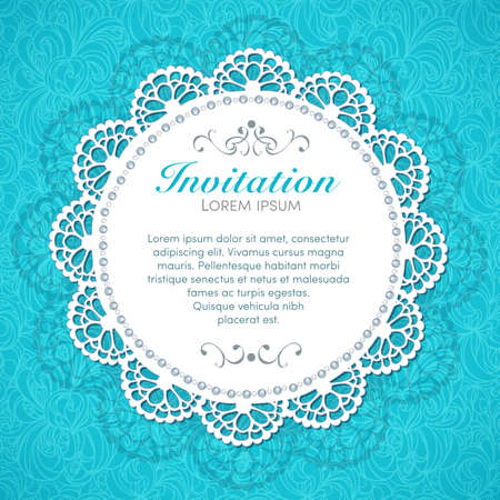 Illustration for Vintage invitation card  Hand made decor on seamless lace background   - Royalty Free Image