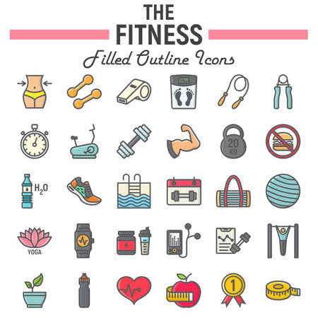 Foto für Fitness filled outline icon set, sport symbols collection, vector sketches, logo illustrations, healthy diet signs colorful line pictograms package isolated on white background, eps 10. - Lizenzfreies Bild