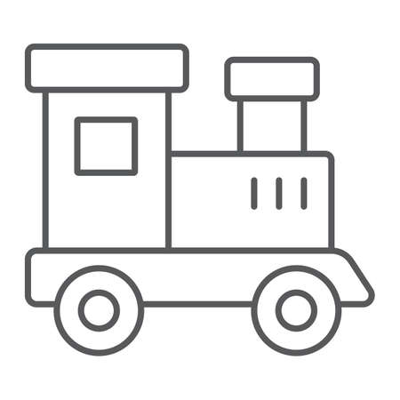 Illustration pour Train toy thin line icon, child and railroad, locomotive sign, vector graphics, a linear pattern on a white background. - image libre de droit