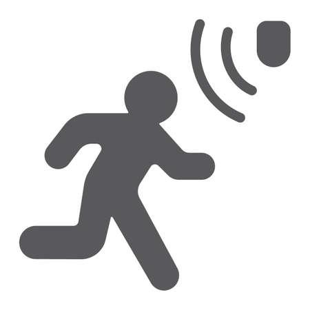 Ilustración de Motion detection glyph icon, security and detector, walking man sign, vector graphics, a solid pattern on a white background, eps 10. - Imagen libre de derechos