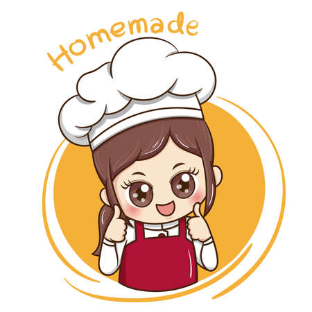 Illustration pour Illustrator of Female Chef cartoon - image libre de droit