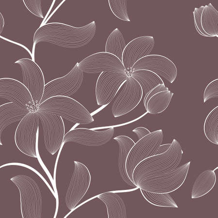 Illustration for floral seamless pattern with hand-drawn flowers - Royalty Free Image