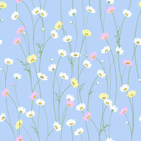 Illustration pour Vector seamless texture with little cute chamomile flowers - image libre de droit
