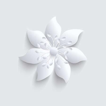 Illustration pour Abstract gray background with 3d elegant paper  flower. - image libre de droit
