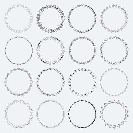 Illustration pour Set of round and circular decorative patterns for design frameworks and banners - image libre de droit