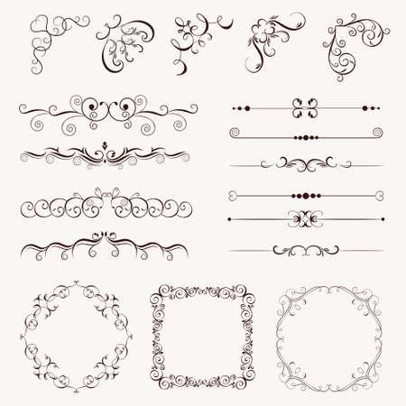 Illustration pour Set vintage decorative elements, frames, borders, corner for design, Can use for birthday card, wedding invitations. - image libre de droit