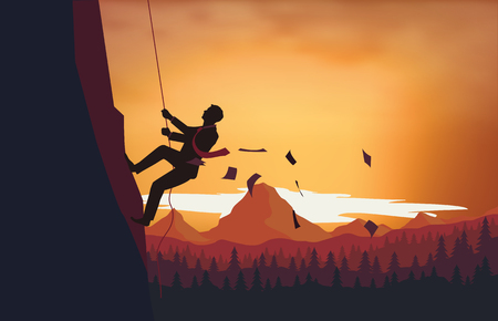 Ilustración de A man climbing the ladder of success - Imagen libre de derechos