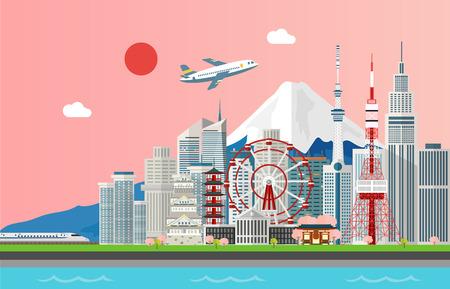 Ilustración de Amazing tourist attrations for traveling in Tokyo Japan illustration design - Imagen libre de derechos