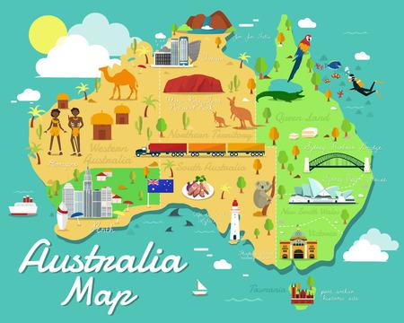 Illustration for Australia map with colorful landmarks illustration design - Royalty Free Image