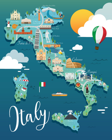 Illustration pour Italy map with attractive landmarks illustration.vector - image libre de droit