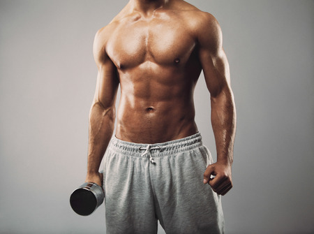 Photo for Studio shot of a male model in sweatpants holding dumbbell on grey background. Shirtless muscular man working out. Health and fitness theme. - Royalty Free Image