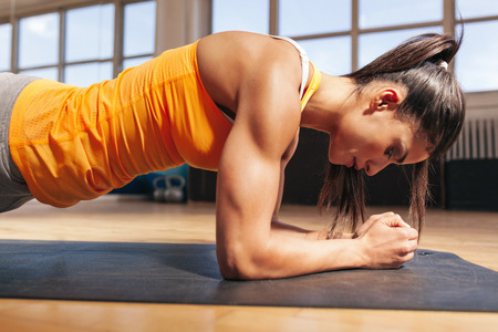 Photo pour Side view of attractive young woman doing core exercise on fitness mat in the gym. Female doing press-ups in health club. - image libre de droit