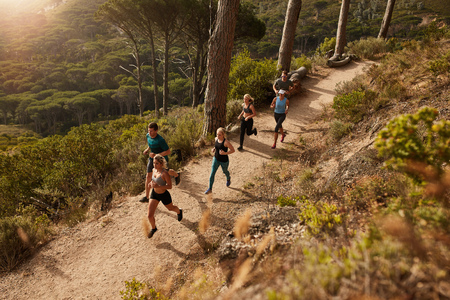 Foto per Group of runners in a cross country race. Young people running in nature. Trail running workout. - Immagine Royalty Free