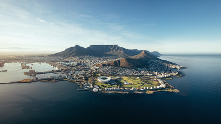 Photo for Aerial coastal view of Cape Town. View of cape town city with table mountain, cape town harbour, lion's head and devil's peak, South Africa. - Royalty Free Image