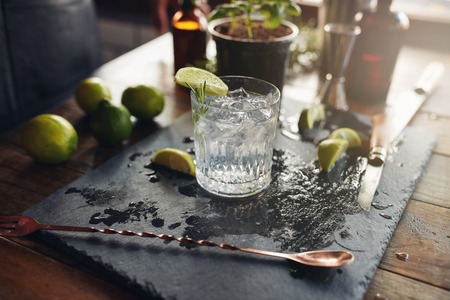 Foto per Close up of glass of a freshly prepared gin and tonic with lemon slices and spoon on the counter. - Immagine Royalty Free