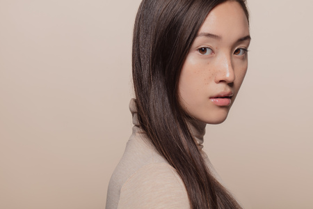 Photo pour Portrait of woman with straight brown hair. Asian woman with a long hair looking at camera. - image libre de droit