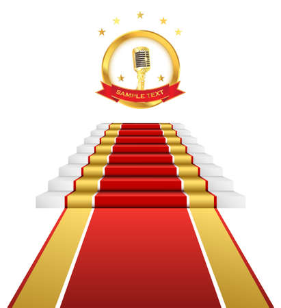 Illustration pour Gold microphone musical ceremony and red carpet for awards. - image libre de droit