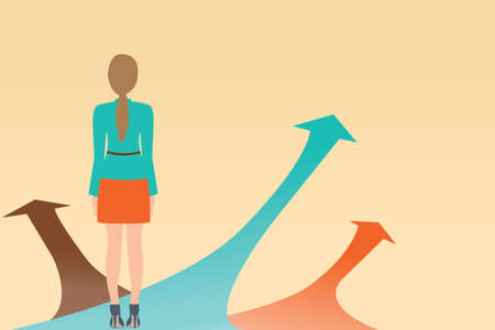 Illustration pour Business woman standing on the arrow with many directions ways,Choices concept, Vector illustration. - image libre de droit