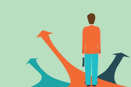 Illustration pour Businessman standing on the arrow with many directions ways,Choices concept, Vector illustration. - image libre de droit