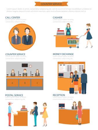 Ilustración de Counter service clerks at work, money exchange, cashier, postal service, reception, call centre, Vector illustration. - Imagen libre de derechos