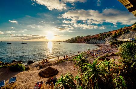 Foto de Cala d'Hort Beach at sunset. Balearic Islands. Ibiza - Imagen libre de derechos