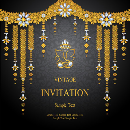 Illustration pour Wedding Invitation card templates with gold patterned and crystals on background color. - image libre de droit