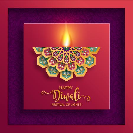 Ilustración de Happy Diwali festival card with gold diya patterned and crystals on paper color Background. - Imagen libre de derechos