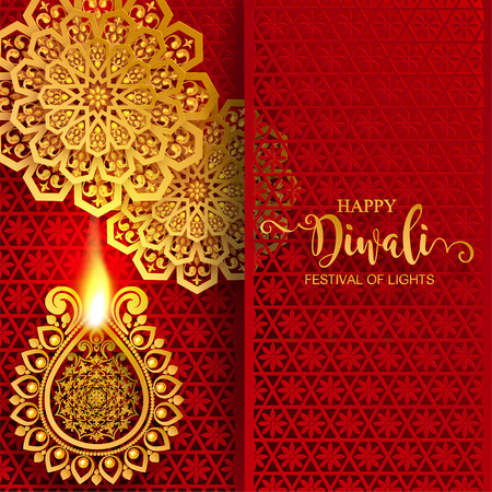 Illustration pour Happy Diwali festival card with gold diya patterned and crystals on paper color Background. - image libre de droit