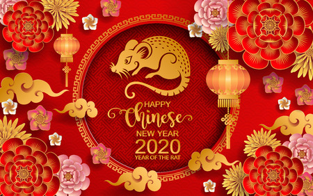 Ilustración de Happy chinese new year 2020 Zodiac sign with gold rat paper cut art and craft style on color Background.( Chinese Translation : Year of the rat ) - Imagen libre de derechos