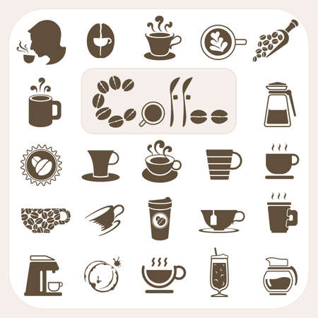 Ilustración de Coffee collection, Vector icons set - Imagen libre de derechos