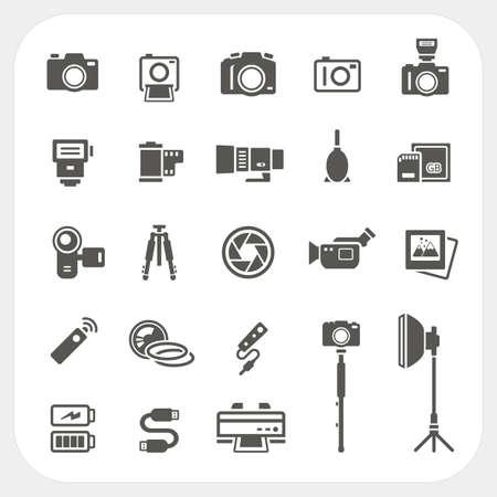 Illustration pour Camera icons and Camera Accessories icons set - image libre de droit