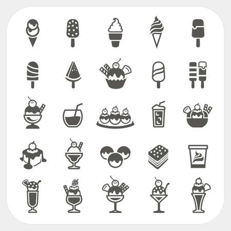 Illustration pour Ice cream icons set, vector - image libre de droit