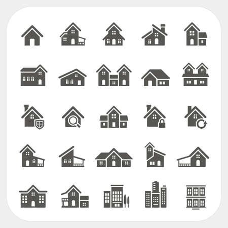 Ilustración de Houses icons set - Imagen libre de derechos