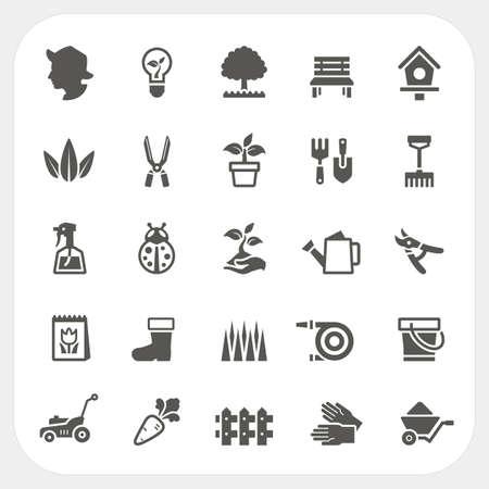 Illustration pour Gardening icons set - image libre de droit