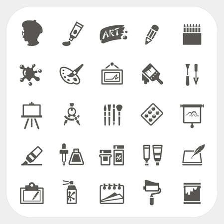 Illustration for Art icons set - Royalty Free Image
