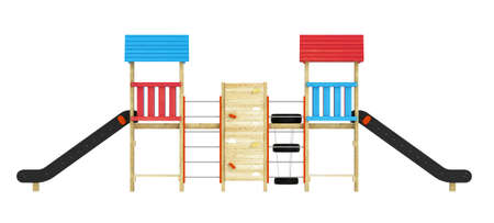 Roofed wooden structure with a double slide for childrens playground isolated on a white background