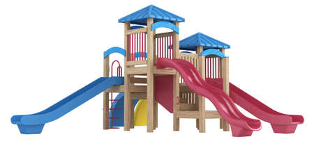 Chilrens wooden playground equipment with covered platforms and three slides isolated on a white background