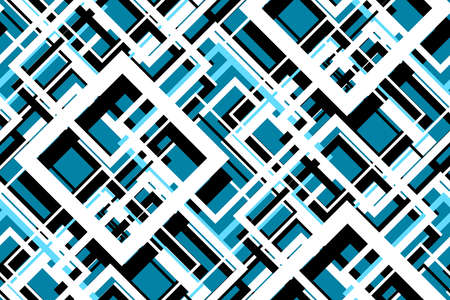 Foto de Trendy contrast geometric seamless pattern. Vector line design fashion textile, fabric print, website template. Abstract background of white, blue, black squares. Vector contrast graphic image - Imagen libre de derechos