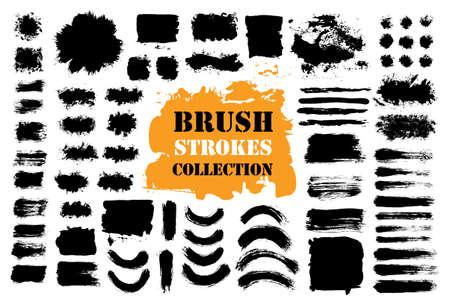 Illustration pour Brush strokes text boxes set illustration. - image libre de droit