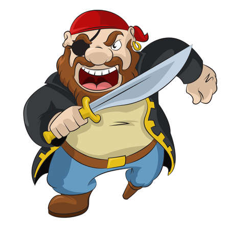 Illustration for image of funny cartoon pirate with sword - Royalty Free Image