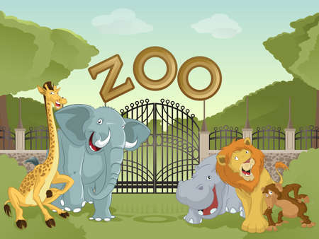 Photo for Vector image of cartoon zoo  with animals - Royalty Free Image