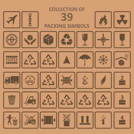 Illustration pour Collection of the packing simbols on backgrownd - image libre de droit