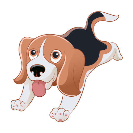 Illustration for Vector image of an cartoon smiling beagle - Royalty Free Image