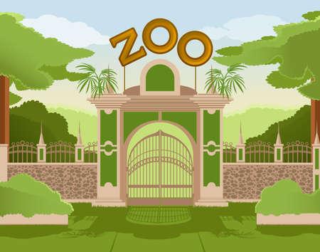 Illustration pour  image of a colurful zoo gate - image libre de droit