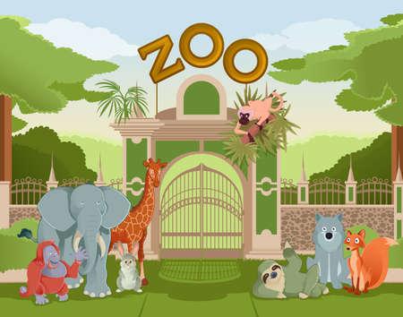 Illustration pour Vector image of zoo gate with animals - image libre de droit