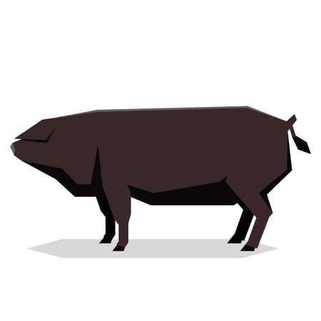 Vector image of the Flat geometric Large Black pig