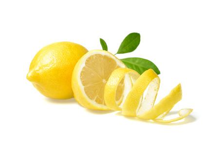 Foto de fresh lemon and lemon peel on white - Imagen libre de derechos