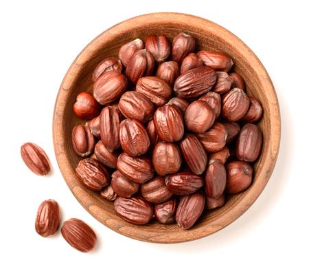 Foto de dried jojoba seeds isolated on white - Imagen libre de derechos